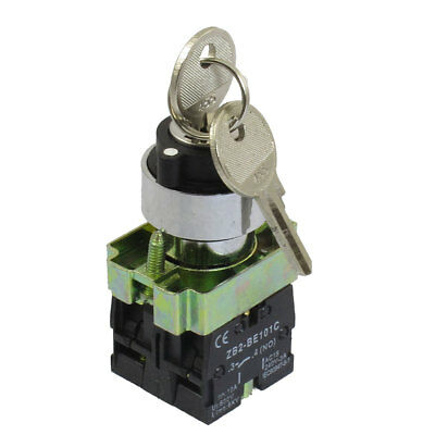 AC 660V 10A On/Off/On Self Lock 3 Postion Key Lock Selector Switch 22mm