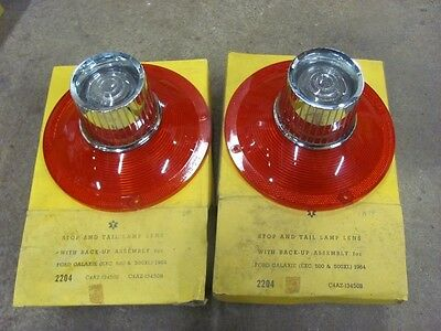 NEW 1964 64 Ford Galaxie Tail & Back up Lenses Pair Replace C4AZ-13450-B