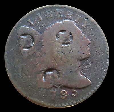 1795  Counter Stamped Liberty Cap Flowing Hair Cent Coin Lettered Edge Variety