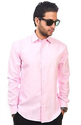 New Mens Dress Shirt Solid Pink Tailored Slim Fit Wrinkle Free Cotton AZAR MAN