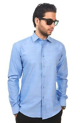 New Mens Dress Shirt Solid Blue Tailored Slim Fit Wrinkle Free Cotton AZAR MAN