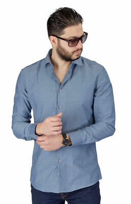 New Mens Dress Shirt Solid Grey Tailored Slim Fit Wrinkle Free Cotton AZAR MAN