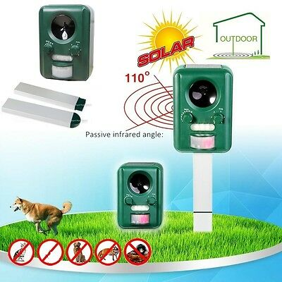 Solar Powered Battery Operated Ultrasonic Cat Fox Repeller + PIR Motion Sensor