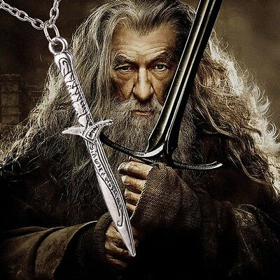 THE LORD OF THE RINGS LOTR Antique Sting Silver Sword Pendant HOBBIT Necklace