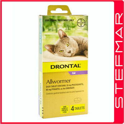 Bayer Bay-O-Pet Drontal Allwormer for Cats 4kg Tablet 4Pack