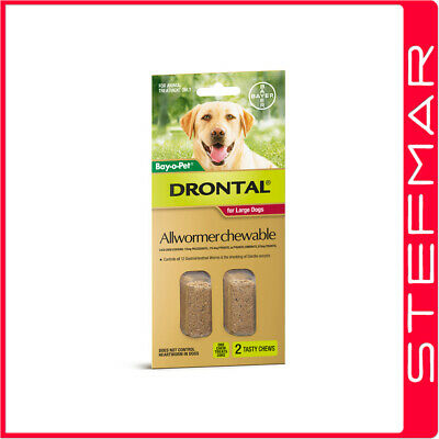Bayer Bay-O-Pet Drontal Allwormer for Dogs 35kg Chews 2Pack