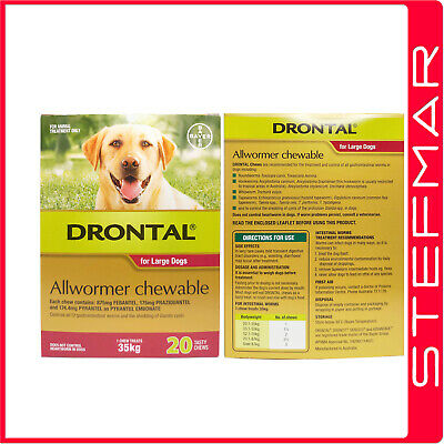 Bayer Bay-O-Pet Drontal Allwormer for Dogs 35kg Chews 20Pack