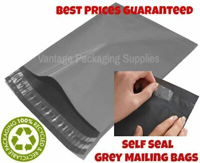 100 - Mixed Grey Thick Plastic Mailing Post Postal Mail Strong Bags (LARGE PACK)