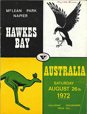 Hawkes Bay v Australia 26 Aug 1972 Napier RUGBY PROGRAMME