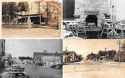 Lot of 4 Early/Vintage Wyoming Streets & Lounge Real Photo Postcards RPPC #51965