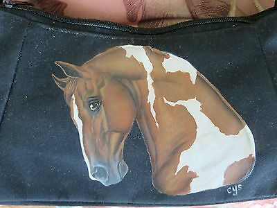 Pinto American Saddlebred Horse Hand Painted on Nylon Purse