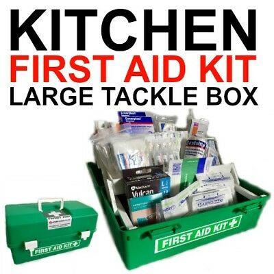 First Aid Kit Large KITCHEN Tackle Box Comply NEW SAFE WORK BLUE BANDAIDS