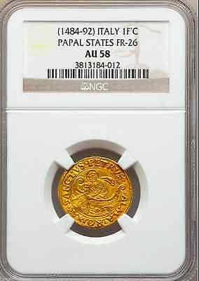 "ITALY 1484 ""SAINT PETER FISHING BOAT"" NGC 58 GOLD Fiorinio di Camera PAPAL STATE"