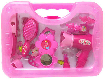 New Dress Up Pink Fashion Accessories Kids Girls Toys Pretend Play Plastic Case
