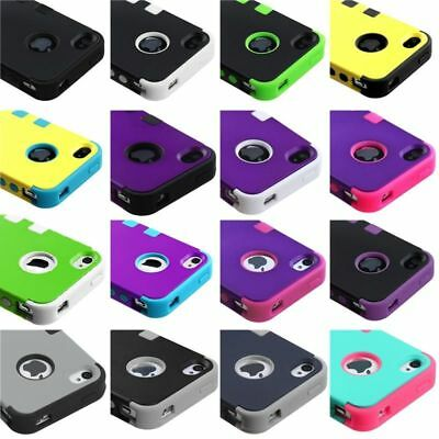 Rubberized TUFF Hybrid Dual Layer Phone Protective Cover Case For iPhone 4 4s