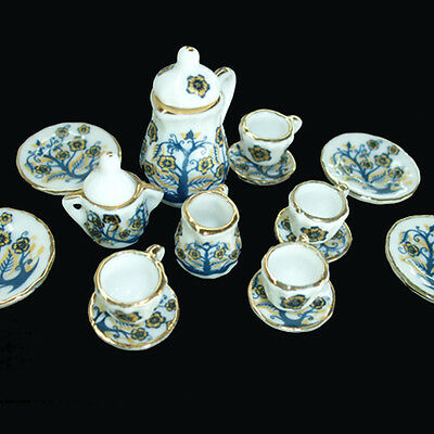 Dollhouse Miniature Tableware Chinaware with Mini Teapots and Miniature Tea Cups