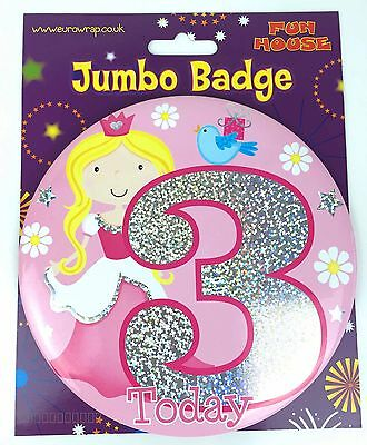3 Today Birthday Badge Age 3rd Large Jumbo Pink Princess Girls Party Accessory