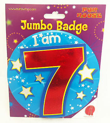 7 Today Birthday Badge Age 7th Large Jumbo Boys Blue Star Party Pin On Accessory