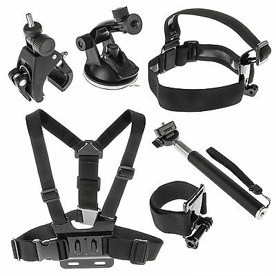 Yousave Accessories 6 Piece GoPro Action Camera Accessory Kit with Head Mount