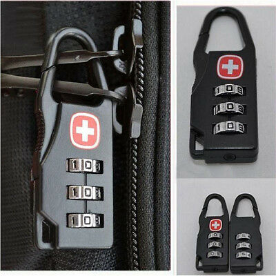Outdoor Black Metal Mini 3 Digit Travel Luggage Password Code Lock Padlock SM