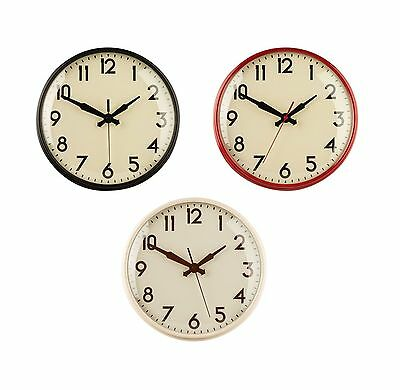 Retro Design Wall Clock in Black Cream & Red Metal for Homes & Offices - NEW