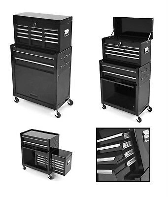 Motorcycle / Car Mechanics Steel Tool Box Chest Roller Cabinet Black