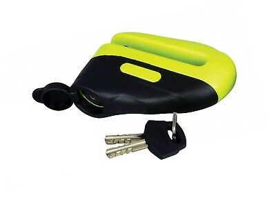 MOTOCROSS BIKE MOTORCYCLE SCOOTER ANTI THEFT DISC LOCK MINI BRIGHT YELLOW 10mm