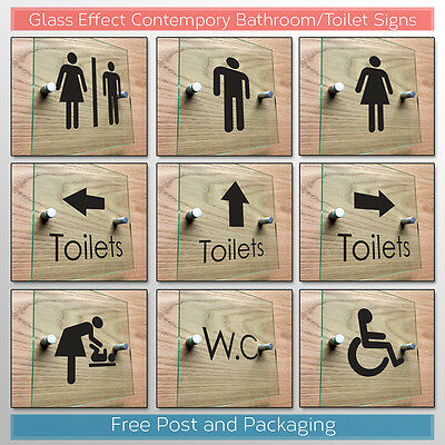 Bathroom Signs Toilet WC Acrylic Signs - Glass Effect Contemporary Hospitality