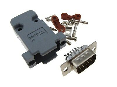 DB15 Male D-Sub connector w/ Two Piece Backshells Hoods 3 Row