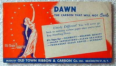 VINTAGE INK BLOTTER OLD TOWN RIBBON & CARBON BROOKLYN NEW YORK DAWN CARBON #r55