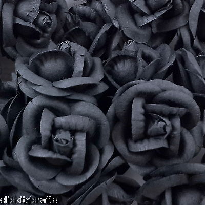 25 Paper Flowers Roses Gothic Headpiece Scrapbook Craft Wedding Supply R60-274