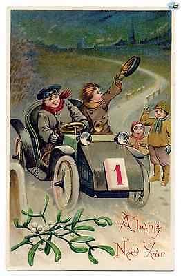 Adorable Antique 1909 Victorian Embossed 'A Happy New Year' Greeting Postcard