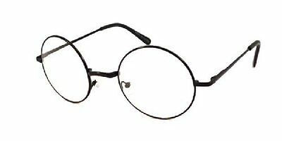 e13731a8cd JOHN LENNON Vintage Round Retro Large Metal Frame Clear Lens Eye Glasses  Black