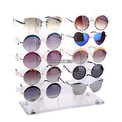 10 Pair 2 Row Sunglasses Eyeglasses Glasses Rack Holder Frame Display Stand