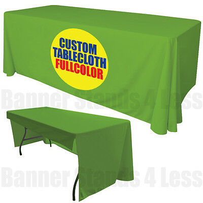 Custom 6' Ft Table Cover Tablecover 3 Sided Tablecloth Trade Show Full Color