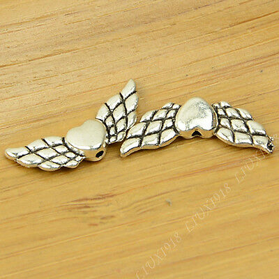 20pc Retro Tibetan Silver Heart Angel wings Spacer Beads Jewellery Making B685P