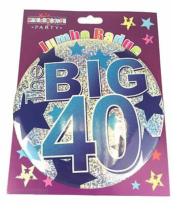 Happy 40th Birthday Badge Age 40 Jumbo Large Mens Blue Party Accessory Pin Gift
