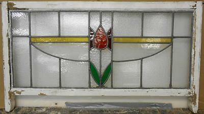 """EDWARDIAN ENGLISH LEADED STAINED GLASS SASH WINDOW Pretty Floral Band 38"""" x 18"""""""