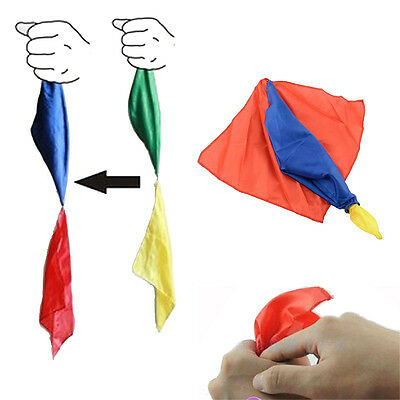 HOT Funny 4 Colors Changing Magic Silk Hanky Trick Scarf Magician Supplies Toys