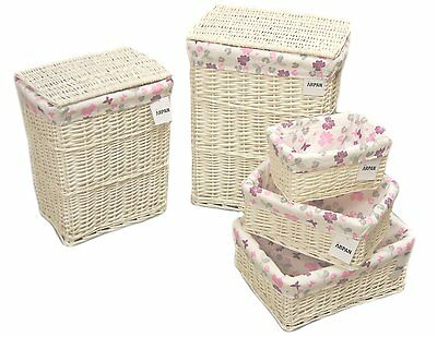 Arpan White Wicker Laundry or Storage Hamper basket With Purple Cloth 5 Size