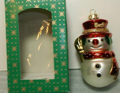 Made in Poland Glass Mouth-Blown Christmas Ornament SNOWMAN New NIB
