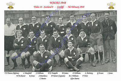 WALES 1948 (v Scotland, 7th February) RUGBY TEAM PHOTOGRAPH