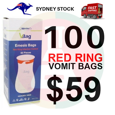100 X Sick Bags Vomit Emesis Bags Calibrated 1.5 Ltr