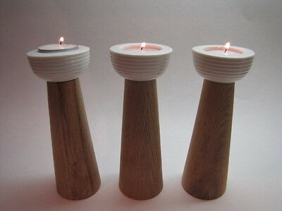 DESIGN BY CONRAN Set of 3 Oak Wood and Porcelain Candle Holders Ret $105 NWT