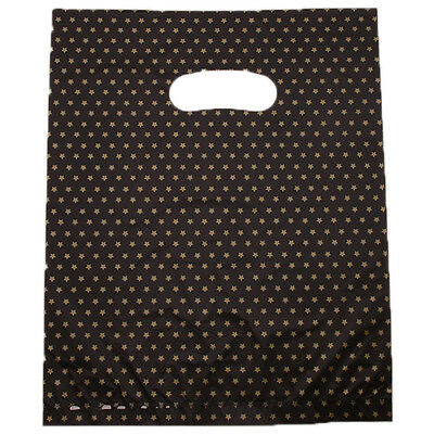 100x Hotest Five-pointed Star Printed Black Plastic Carrier Bags Fit Boutique L