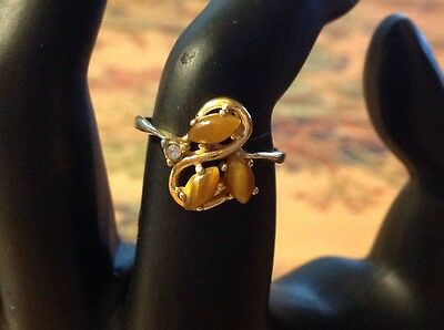 Vintage Tiger Eye Yellow Gold Colored Ring With One Small Clear Stone