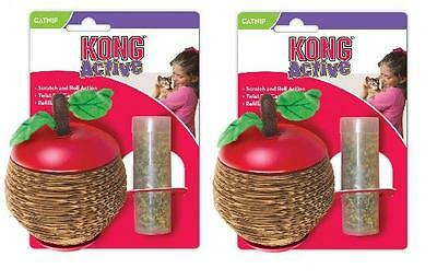 2 x Kong Cat Scratch Apple Cat Kitten Toy Play Fill With Catnip Interactive