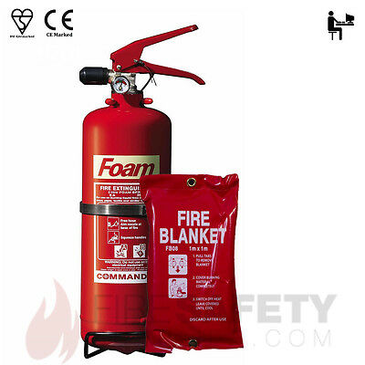 NEW COMMANDEREDGE, AFFF FOAM FIRE EXTINGUISHER 2 LITRE WITH 1M x 1M FIRE BLANKET