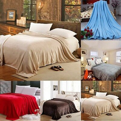 Luxury Decorative Soft Sofa Bed Fleece Throw Blanket Coral Warm Travel Pet Cover