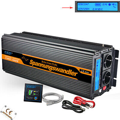 Power Inverter 12V 220V 2500W 5000W Pur Sinus Onduleur Écran LCD Convertisseur